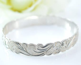 Floral Scroll Bangle Bracelet Sterling Silver 26.8g