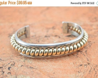 On Sale Two-Tone Coil Cuff Bracelet Sterling Silver 42.5g