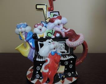 Collection - Work of popular art - Julie Borden - musician cats - Pot - teapot - teapot porcelain