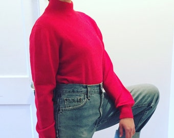 vintage 80s cherry red 100% cashmere mock neck sweater / minimalist Lord & Taylor cashmere