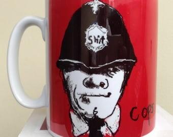 Cops and Robbers. Tea/Coffee mug. Wrap around print from original artwork by C.C.