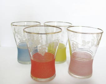 Set of 4 Retro Etched Frosted Glasses