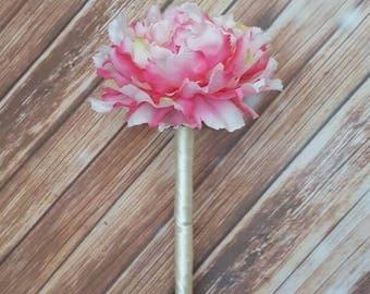 Flower Girl Wand, Peony Wand, Peony Flowers, Pink Flower Wand, Wedding Flowers, Flower Girl Accessories, Flower Wand, Wand, Fairy Wand