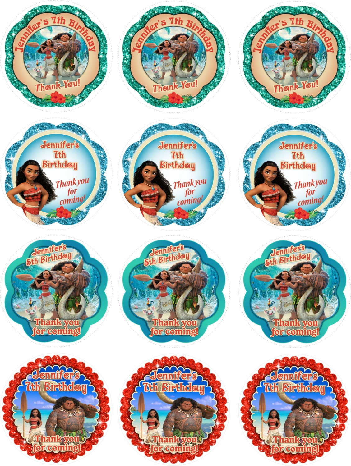 YOU PRINT- Moana Birthday Thank you Sticker, Moana Gift Tags, Moana ...
