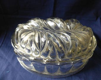 Vintage Clear Glass Jelly Mould Circa 1920's, Feather Pattern Jelly Mould, Kitchenware , Kitchen Decor, Collectible Glass.