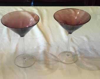 Purple and clear martini glasses with silver iridescent flash Set of 2