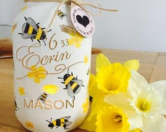 Handmade Honey Bee Mason Jar
