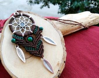 Dreamcatcher macrame necklace, macrame necklace, dreamcatcher necklace, dreamcatcher jewelry, macrame jewelry, bohemian necklace, tribal