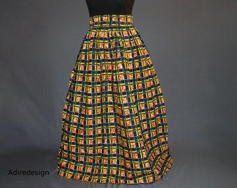 African print skirt, Ankara long skirt, Wax print, floor length boho, jupe, Circle skirt, maxi  tribal, yellow, Bohemian, blue, geometric