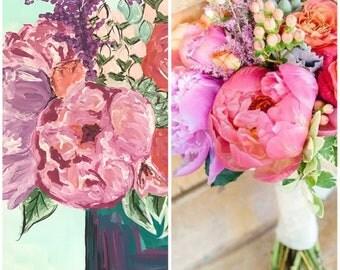 Custom wedding flower bouquet painting