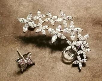 Large silver ear climber, ear crawler, cz ear climber, cubic zirconia, wedding earrings, bridal jewellery, bridesmaid gift, drop earrings,