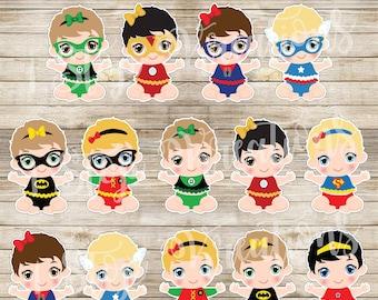 Baby Superheroes Centerpiece/Cake Topper Digital File