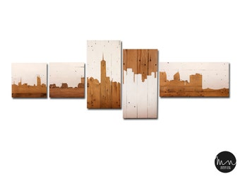 Manhattan SKYLINE picture handcrafted with Handmade wooden pallets/Manhattan SKYLINE made of recycled wooden pallets