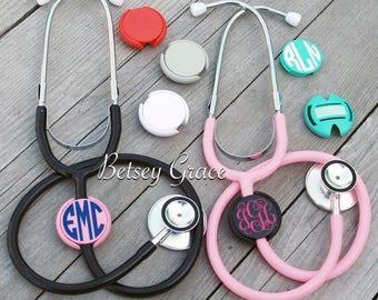 Nurses and doctors monogram stethoscope name tag id clip