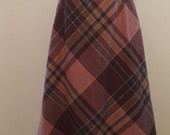 40% OFF --- Vintage 1970s Plaid Wool Fall Autumn A-Line Boho Skirt