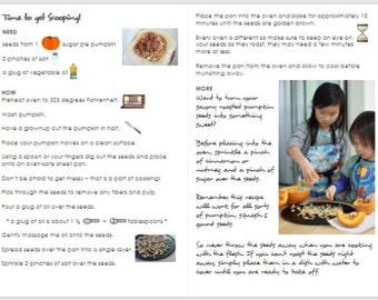 Kid Friendly Recipe: Roasted Sugar Pie Pumpkin Seeds, Creamy Curry Pumpkin Soup Recipe, Pumpkin Recipe, Kids in the Kitchen Recipe