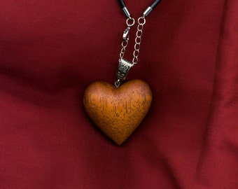 Wooden heart necklace, wooden necklace, wooden jewellery, gift for her, valentines, wooden heart pendant, made from Merbau wood.