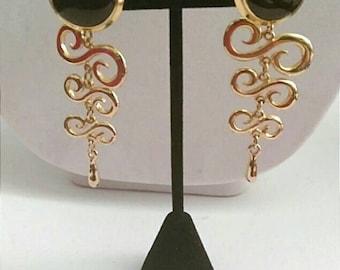 Gold Earrings, Chandelier Earrings, Dangle Earrings, Drop Earrings, Long Earrings, Vintage Earrings, Statement Earrings,