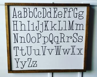 ABC'S Framed wood sign 25 1/2 x 22