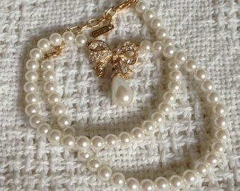 Vintage Vendome Faux Pearl Rhinestone Bow Necklace