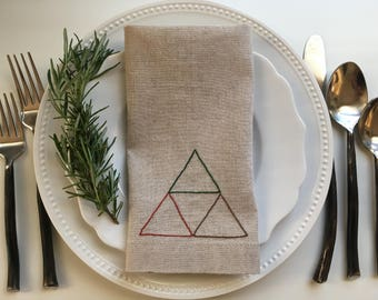 Hand Embroidered Triangle Linen Cotton Blend Napkin or Placemat