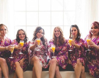 Sale! Bridesmaid Robes -Floral Cotton Robes -Getting Ready Robes -Bridal Party -Kimono Robe***Discount for Multi Orders, Please message us**