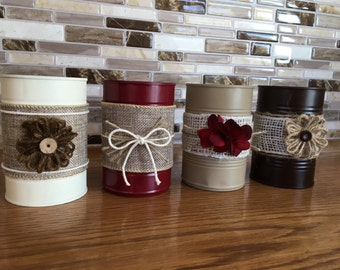 Upcycled Tin Cans - Set of 4