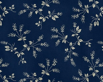 CLEARANCE - Washington Street Studio - Navy and Tan Floral - American Patch by Rocky Mountain Quilt Museum - Reproduction