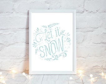 Let it Snow, Printable Christmas Decoration,  Festive Home Decor, Rustic Christmas Decor, Winter Holiday Sign, Xmas Decor, Instant Download