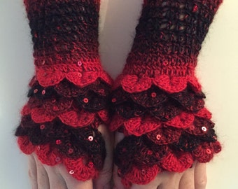 Dragonscale Gloves With Sequins (Ready to send)!!!!!!