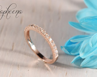 Rose Gold Half Eternity Band, Engagement Ring, Pave, Wedding Ring, Stacking Ring, Stackable Band in Solid 14k Rose Gold by Sapheena