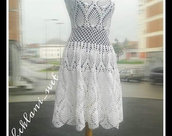 Crochet dress, Crochet dress woman, Crochet dress white, Woman handmade dress, Women's handmade dresses, Boho clothing, Cootton summer dress