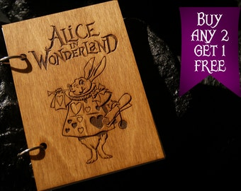 Rabbit wooden notebook / Alice in Wonderland notebook / sketchbook / diary / journal / travelbook / Wonderland gift
