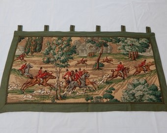 Vintage French Beautiful Hunting Print Tapestry 031