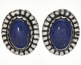 Native American Lapis Silver Post Earrings Southwest Design