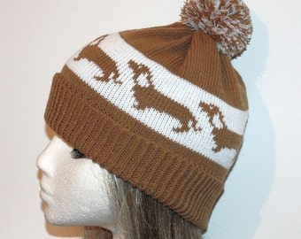 Fawn & White Beanie Hat with Dachshund dogs with or without Pompom option