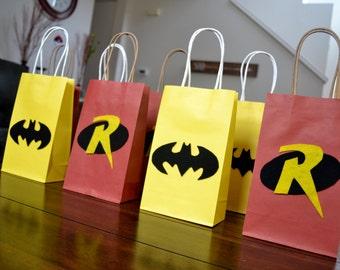 BATMAN AND ROBIN Favor Bags - Set of 12 Batman & Robin Inspired Party Bags, Superhero Party, Batman and Robin Birthday, Batman Favors