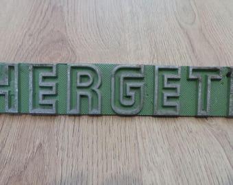 Vtg Retro HERGETH (Hollingsworth) Metal Sign Plaque Machinist Industrial