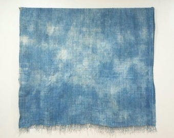XL Vintage faded indigo african mudcloth mossi fabric throw with fringe, no.255
