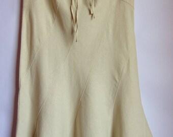 Vintage Women's Skirt/Light Gray Skirt/Mermaid Summer  Skirt/ Maxi Lined Skirt/On Side Zipper/Tied Skirt/Size M/ Eur 40/ UK 12
