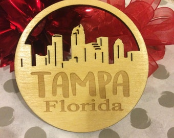 FREE SHIPPING *** Tampa Florida *** Skyline Christmas Holiday Ornament ***