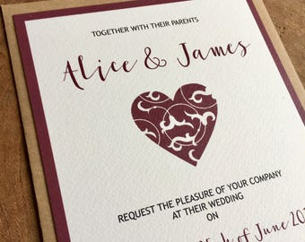 Heart wedding invitation and matching RSVP