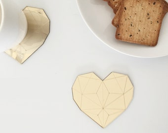 Gold mirror heart coasters,geometric coasters,Modern coasters,Wedding coasters,valentine's day,coaster set,i love you,valentines day decor