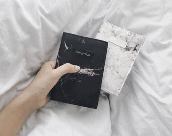 Black marble Passport Cover /  Monogramming / Marmor silky/ fabric passport holder /Destination wedding gift