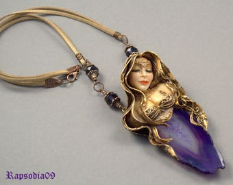 Jewelry pendant Pendant odalisque Polymer clay jewelry Agate pendant woman Beauty woman necklace Purple gold necklace