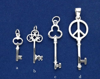 925 Sterling Silver Key Pendant(K-B)-Silver Key Pendant-Silver Oval Key Pendant/Silver Clover Key Pendant/Silver Heart Key Pendant-Polished