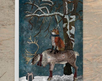 Winter Tale - Greeting Card, Christmas Card Animal, Winter Card, Fox Card, Reindeer Card, Holiday Card, Blank Card, Birthday Card