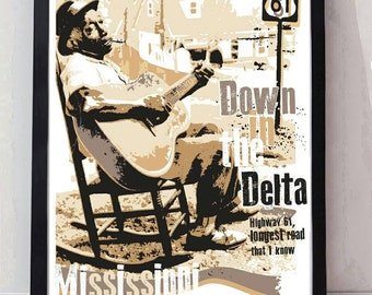 Mississippi blues unframed poster. Specially created.