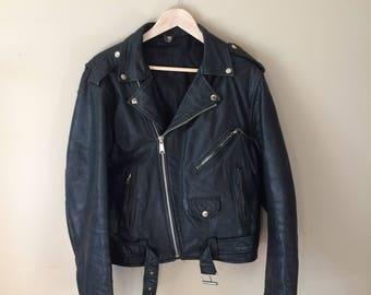 Vintage Leather Motorcycle Biker Jacket