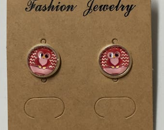 Cute red owl earrings